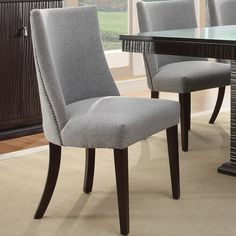 tribecca home dominic grey curved nailhead upholstered dining chair set of 2 by tribecca home - Recovering Dining Room Chairs