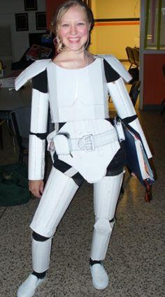 Cardboard Stormtrooper by AlwaysLoveLorn on DeviantArt Cardboard Costume, Cardboard Crafts, Best Summer Camps, Summer Fun, White Spray Paint, Old Shoes, Cosplay, Craft Box, Halloween Crafts