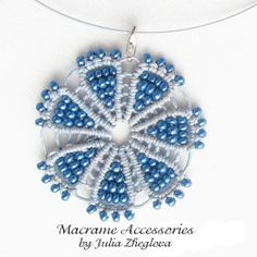 Macrame Pendant Blue Flower blue beaded braided woman by makrame, $23.00