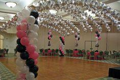 Balloon Star Canopy Pink, Black & White Star Canopy over Dance Floor