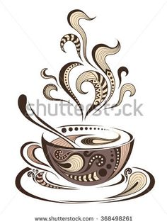 Patterned Cap Of Coffee. Batik/African / Indian / Totem / Tattoo Design Stock Vector - Illustration of paws, curl: 65550679 Doodle Art Drawing, Pencil Art Drawings, Art Drawings Sketches, Totem Tattoo, Coffee Cup Art, Coffee Love, Coffee Maker, Stencil, Doodle Art Designs