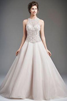 Charming A-line Jewel Court Train Tulle Fabric UK Wedding Dresses 2015 with Beading Style uk150806