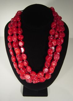 4 strand red coral necklace