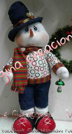 Molde: Muñeco de nieve con jeans Homemade Christmas Decorations, Snowman Decorations, Christmas Crafts For Kids, Xmas Crafts, Crafts To Make, Christmas Mantels, Christmas Snowflakes, Christmas Snowman, Christmas Wreaths