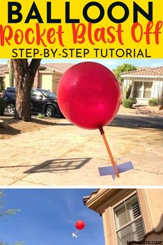 The balloon rocket is quick and easy to build using stuff you already have at home, and it will blast off into the air sky-high! Steam Activities, Indoor Activities For Kids, Fun Crafts For Kids, Projects For Kids, Diy For Kids, Summer Activities, Family Activities, Outdoor Activities, Stem Rockets