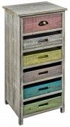 6 Drawer Wooden Cabinet Multicoloured