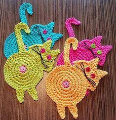 Peeking Cat Butt Coaster pattern by Upper Crust Crochet - Knitting and Crochet Crochet Coaster Pattern, Crochet Cat Pattern, Crochet Diy, Crochet Bunny, Crochet Home, Crochet Gifts, Crochet Motif, Crochet Patterns, Crochet Vintage