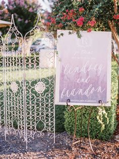 Pretty watercolor calligraphy wedding sign: http://www.stylemepretty.com/california-weddings/geyserville-california/2016/01/17/french-inspired-wine-country-wedding-at-geyserville-inn/ | Photography: Lori Photo - http://loriphoto.com/
