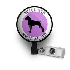 boxer dog lover nurse badge reel