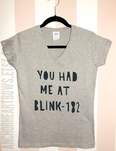 You had me at Blink 182 VNeck Shirt Hipster by AnchorHeartBows, $14.99