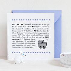 Faire-part 11,5 x 11,5 cmPapier Trucard 240gEnveloppe blanche patte pointue.Existe en bleu, rouge et rose.Personnalisation :Les informations nécessaires (prénom, date, texte, couleur, etc) vous seront demandées par mail après avoir passé votre command
