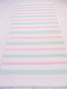 White mint pink cotton rug nursery rug handmade by leedas on Etsy