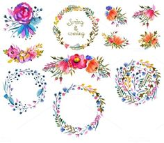 Love these bright floral watercolor wreath clip art elements. So bright, happy and intricate!