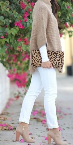 White jeans, great sweater, and the perfect leopard print clutch. The whole look rocks.