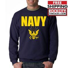 NAVY CREW NECK GOLD Military Hooded Sweatshirt Blend Seal US U.S.NAVY USNAVY USA #RockCityThreads #SweatshirtCrew