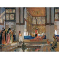 John Frederick Lewis, A Lady Receiving Visitors (The Reception), Oil on panel. Yale Center for British Art, New Haven. (Pinned from a good article on John Frederick Lewis. Esteban Murillo, Portrait Photos, Art Magique, Empire Ottoman, Peggy Guggenheim, Poster Online, Arabic Art, Arabian Nights, Egyptian Art