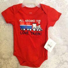 All Aboard The Love Train 1P Creeper Romper Red Sz 0-3 Mo Infant Boy One pc NWT    eBay
