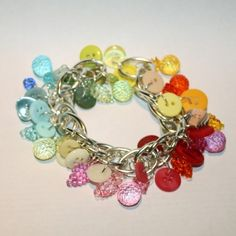 This is a fun button bracelet I made with all of my favorite colors (rainbow)!