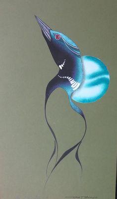 marsh dweller-loon, Indian Art From The Edge Garnet Tobacco Bird Painting Acrylic, Feather Painting, Acrylic Art, Rock Painting, Modern Indian Art, American Indian Art, Native American Art, Loon Tattoo, Aboriginal Artwork
