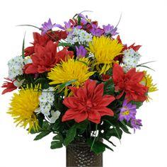 Red Dahlia, Fuji Mums and Wildflowers          (Silk Cemetery Flowers)