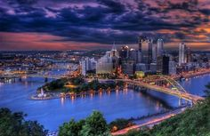 Pittsburgh is one of the best cities in the country hand down, just ask anyone from he 'Burgh. However, Pittsburgh wasn't always considered the best, but has since overcome its negative, dirty image t. Oh The Places You'll Go, Great Places, Places To Travel, Beautiful Places, Places To Visit, Amazing Places, Amazing Photos, Pittsburgh Skyline, Pittsburgh Pa