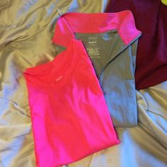2 piece running tops Long sleeve hot pink lightweight tshirt &, hot pink/ light gray pull over with reflective stripe on collar. Both Danskin, both medium - neither ever worn. Danskin Tops Tees - Long Sleeve