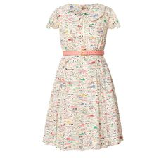 Orla Kiely: Flutter sleeve dress in 'Riviera' print silk crepe de chine fabric. This cute dress has a scallop collar with keyhole at front neck with tie. Full skirt with pleats. This dress comes with a leather detachable contrast belt with gold buckle. Zip to fasten.        Length: 88.5cm