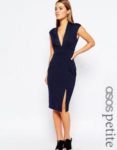 ASOS PETITE Blouson Top Midi Pencil Dress With Scuba Skirt