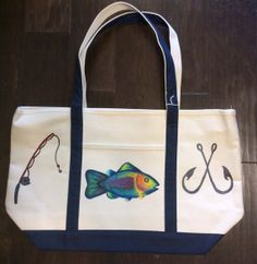 Beach Tote Bag Hand Painted with Fish Hooks by GulfLifebyNichole, $44.99