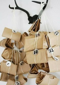 """lindsaycharlotte: """"A little advent calendar inspiration from another favourite, A Merry Mishap… """" Nordic Christmas, Noel Christmas, Christmas Countdown, Christmas Wrapping, All Things Christmas, Winter Christmas, Christmas Presents, Modern Christmas, Advent Calenders"""