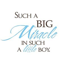 @Overstock - Show the little man in your life how much you love him with this Vinyl Attraction decal that proclaims 'Such a Big Miracle in Such a Little Boy' with lovely blue hues included in the design. It's easy to remove from the wall and reposition.http://www.overstock.com/Home-Garden/Vinyl-Attraction-Such-a-Big-Miracle-in-Such-a-Little-Boy-Vinyl-Decal/6032804/product.html?CID=214117 $33.99