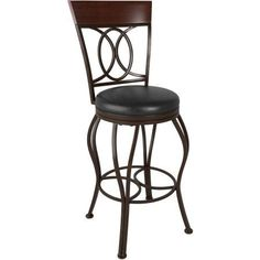 CorLiving Jericho Metal Bar Height Barstool with Dark Brown Bonded Leather Seat