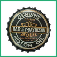 Round Vintage tin sign 40cm Round GENUINE MOTORCYCLES MOTOR Embossed Beer Bottle Cap Manualidades 3D style Metal sign bar poster