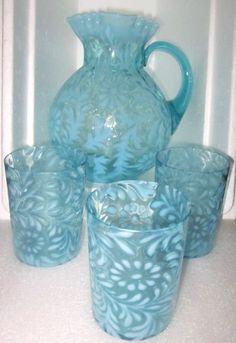 Fenton Opalescent Daisy & Fern Blue Pitcher & 3 Glasses Fancy Beverage Set