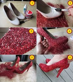 Re-new old shoes with glittering! Your old shoes can easily be taken back to life with DIY Glitter Shoes! Re-new old shoes with glittering! Your old shoes can easily be taken back to life with glitters. Shoe Crafts, Diy Crafts, Teen Crafts, Shoe Makeover, How To Make Glitter, Shoe Refashion, Kleidung Design, Glitter Crafts, Diy Glitter