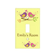 Two Cute Lovebirds Personalized Switch Plate Cover