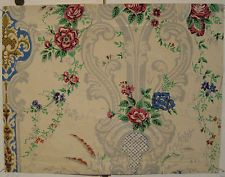 Beautiful Antique 18th C.  French Floral Wallpaper (9009)