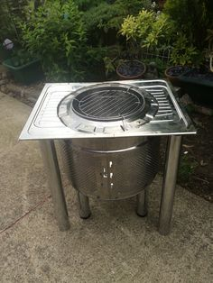 Reuse, recycle, up cycle Washing machine drum/kitchen sink fire pit, BBQ Patio Gas, Outdoor Barbeque, Backyard Barbeque, Outdoor Fire, Bbq Grill, Bbq Guys, Washing Machine Drum, Fire Pit Chairs, Diy Outdoor Kitchen