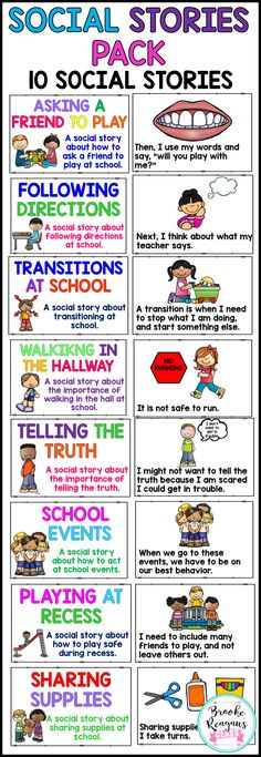 Social Stories. 10 social stories to teach appropriate school behavior. Perfect for general education and special education students!