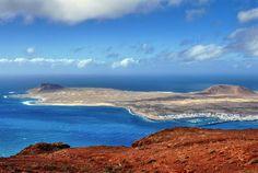 Vue sur l'île de La Graciosa depuis le Mirador del Rio, Lanzarote - îles Canaries (Espagne)