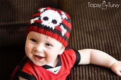 Free Intarsia Skull Baby Beanie Pattern Ashlee @ imtopsyturvy