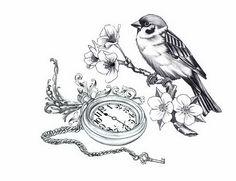 Bird Sit On Branch With Pocket Watch Tattoo Design