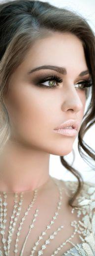 Brown smokey eye, defined brows, nude lips