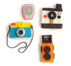 camera decorated fondant cookie