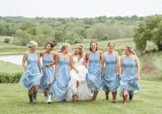 """Life is better with your girls and your boots 🤠 • Bridal gown: @morileewedding Bridesmaids: @morileewedding in """"Cornflower"""" Bridesmaids, Bridesmaid Dresses, Prom Dresses, Bridal Gowns, Wedding Gowns, Madeline Gardner, Bridal And Formal, Mori Lee, Dress Wedding"""