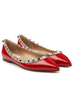 2c04232232 Rockstud Two-Tone Patent Leather Ballerinas | Valentino Red Ballet Shoes,  Ballerina Flats,