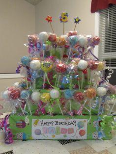Cake-pop Birthday cake!  This might be Abby's cake this year!
