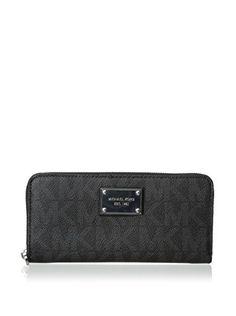 bbce65630568  sale Michael Kors Black PVC Continental Wallet Michael Kors Black