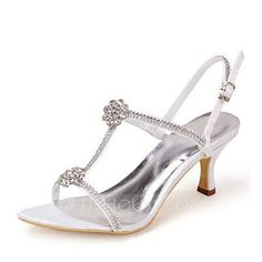 [US$ 49.99] Women's Silk Like Satin Stiletto Heel Pumps Sandals With Rhinestone