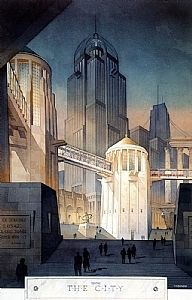 from the city by Thomas  W. Schaller Watercolor ~ 30 inches x 20 inches